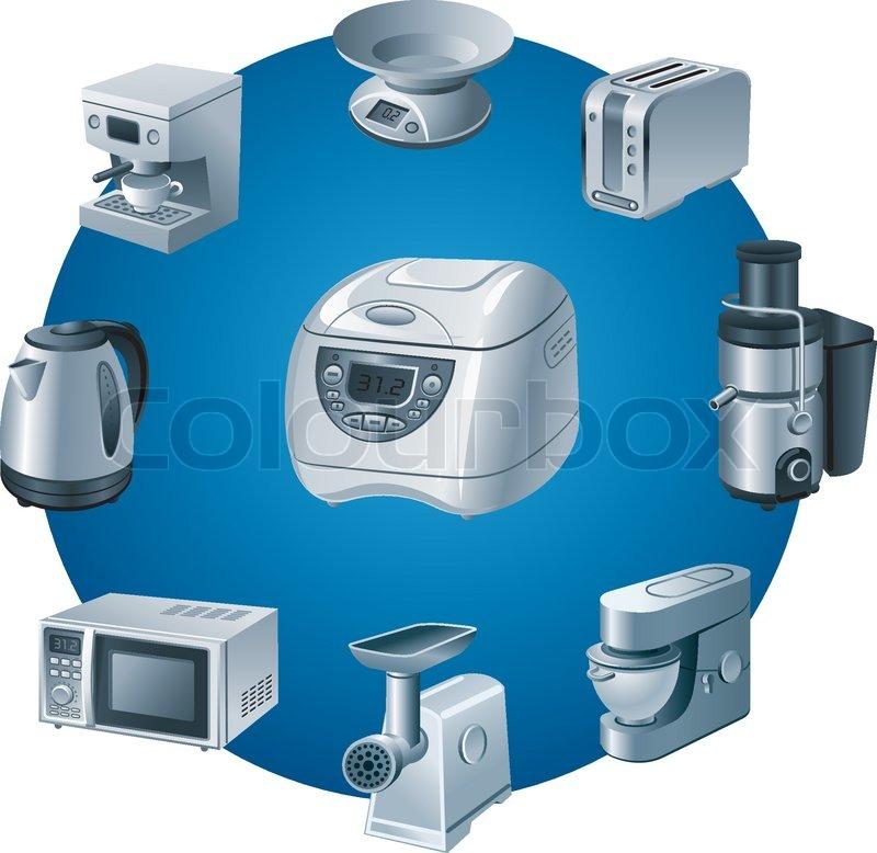 small kitchen appliances icon set