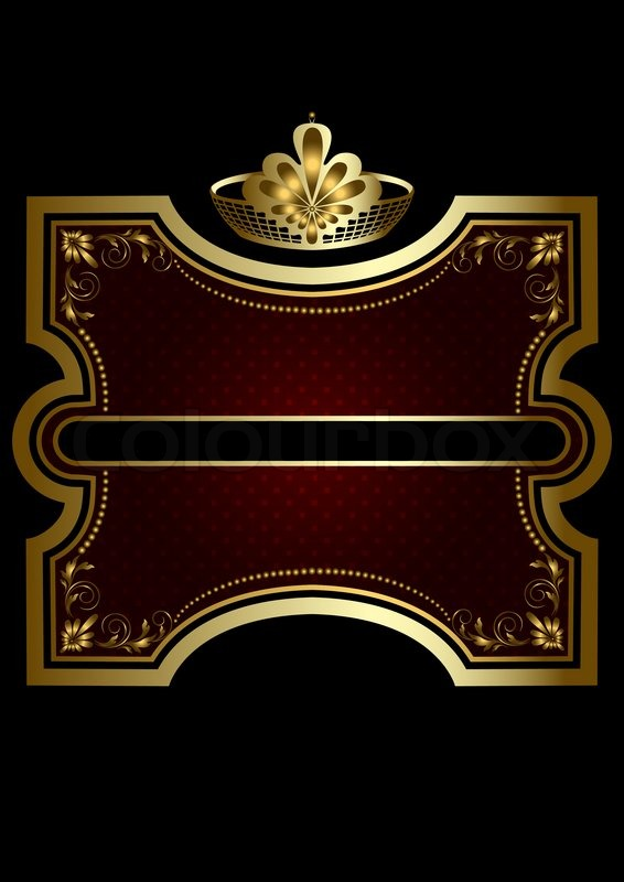 Gold Frame With Shiny Burgundy Background With A Gold