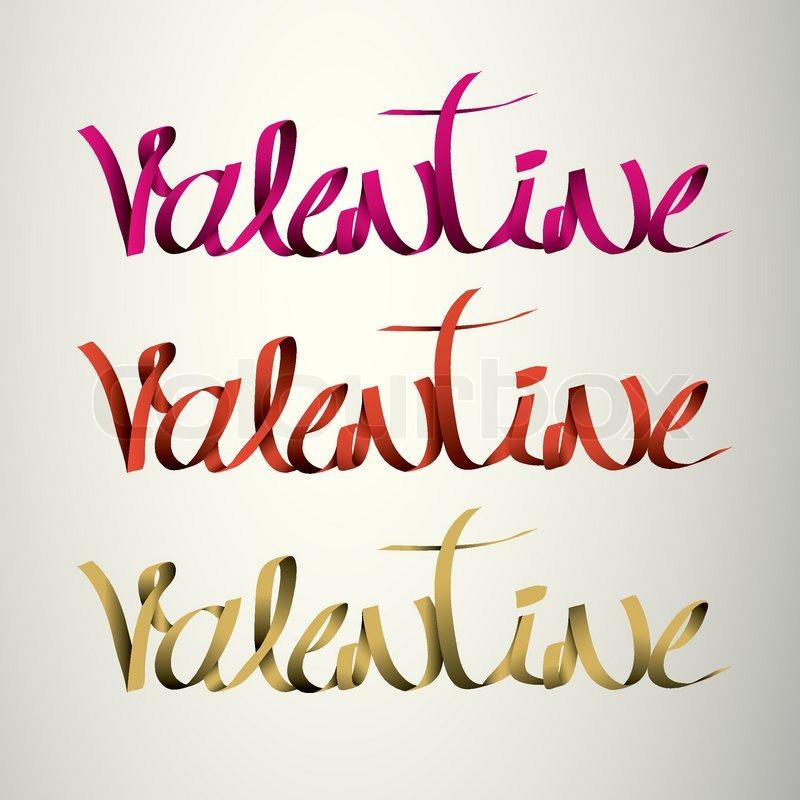 Valentine handmade calligraphy ribbon vector eps