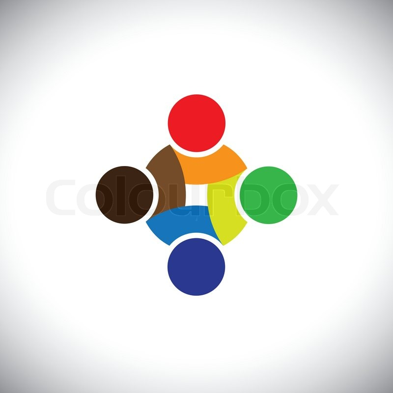 Colorful Design Of People Symbols Working As Team Cooperating