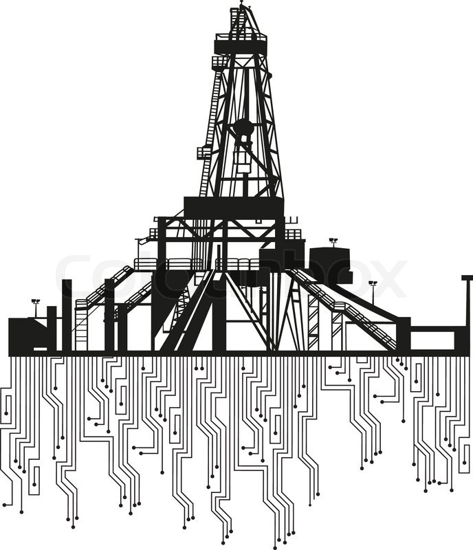 Oil Tower Drawing Oil Rig Silhouettes on White