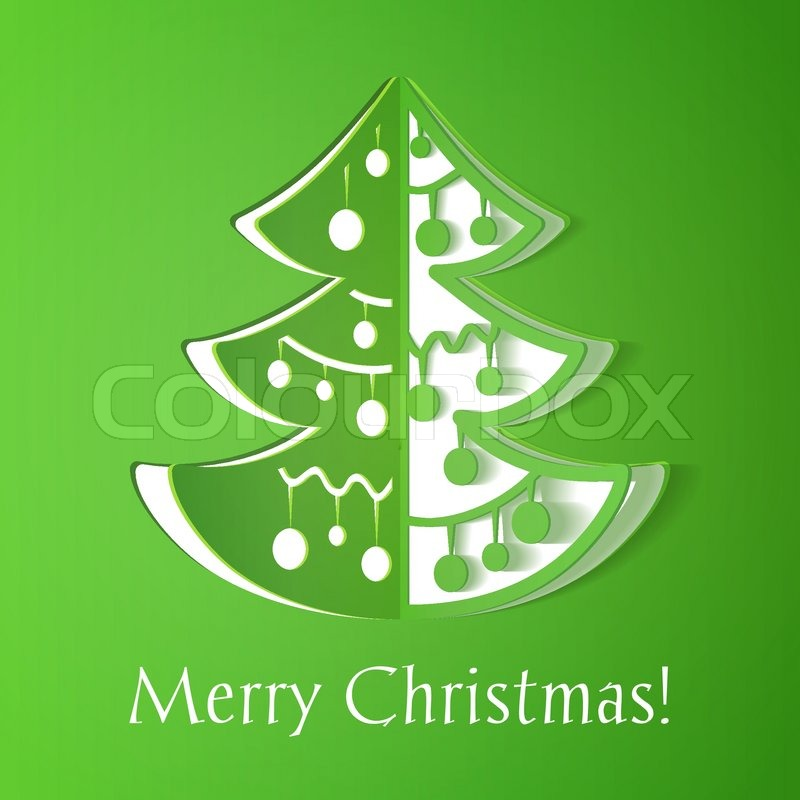 Green Paper Cut Out Christmas Tree