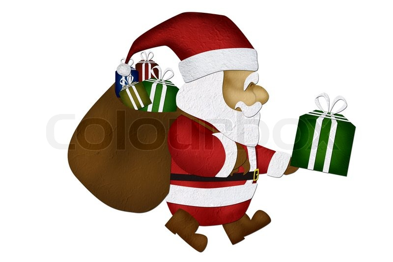 Stock image of 'Merry Christmas, Mulberry paperSanta Claus, on white background'