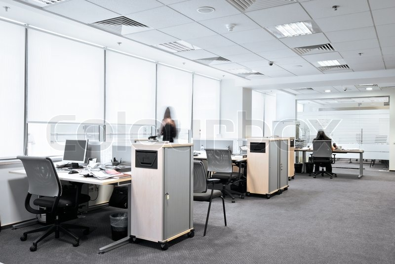 Stock image of 'Office work place with business mans moving'