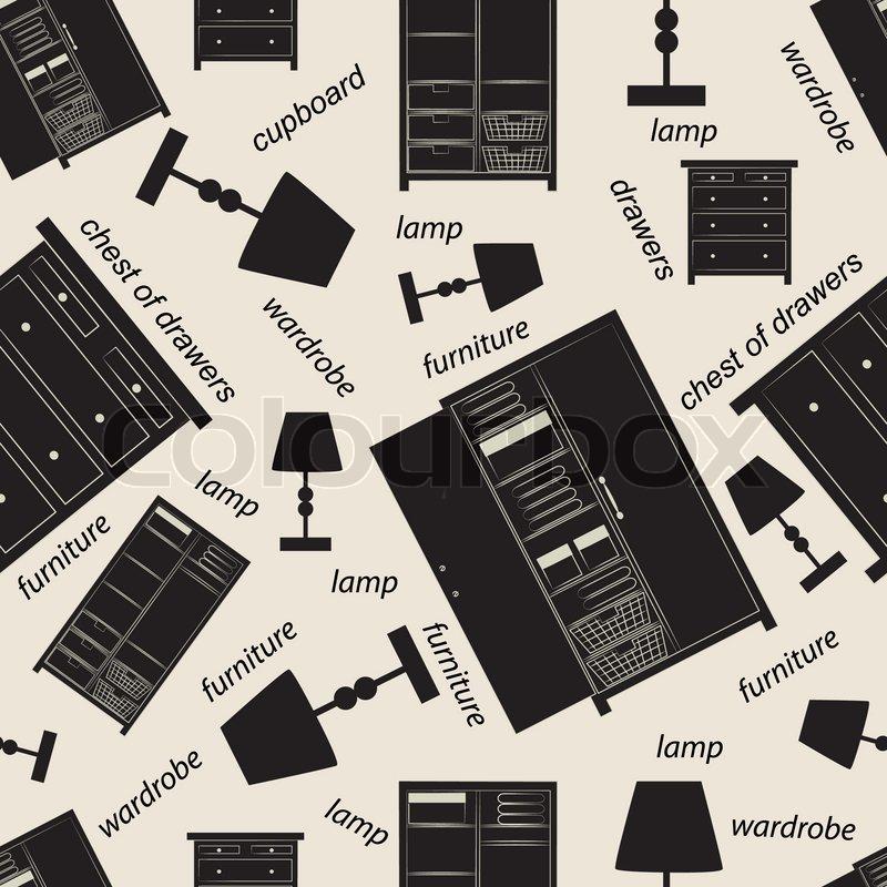 Problemfri mønster af diverse soveværelse møbler, herunder skabe ...