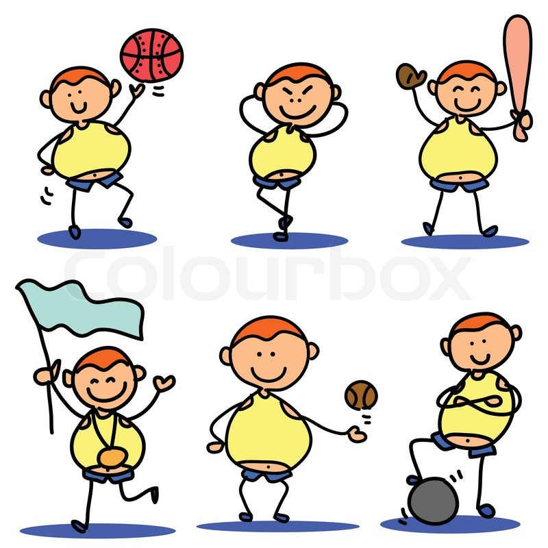 Cartoon Characters Playing Sports : Cartoon hand drawing sport icon stock vector colourbox