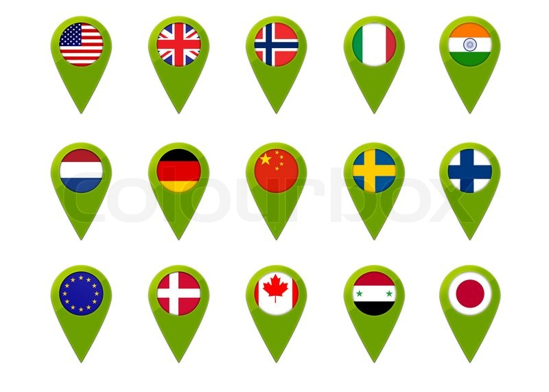 Map Pins With World Flags Stock Photo Colourbox - Flag pins for maps