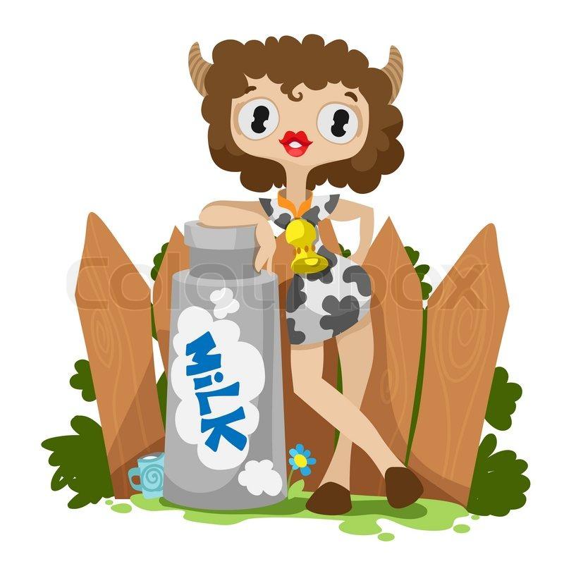 Milk Cow Vector Stock Vector of 39 Girl Cow