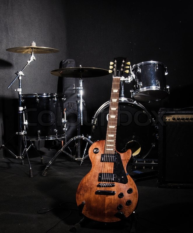 Set of musical instruments during concert | Stock Photo ...