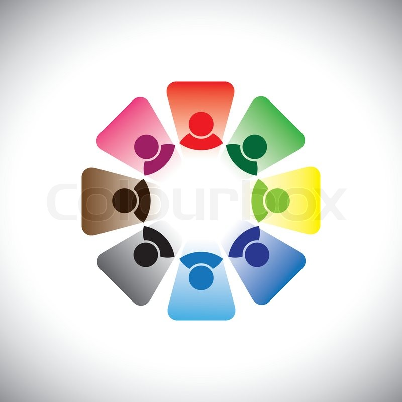 Colorful multi-ethnic corporate workers team- vector