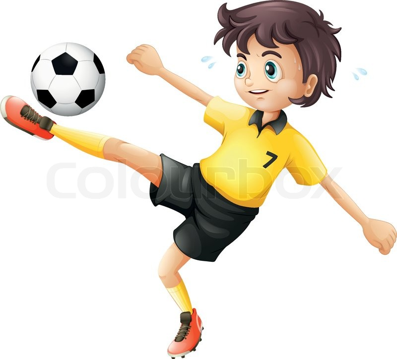 Illustrtaion Of A Boy Kicking The Soccer Ball On A White