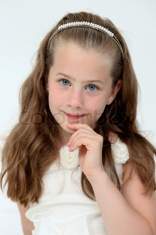 Cute little girl on a white background stock photo colourbox - Kleine teen indelingen meisje ...