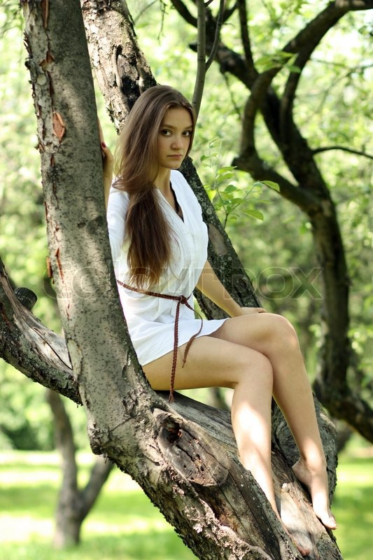 A Young Beautiful Girl Sitting On Tree In Park Stock