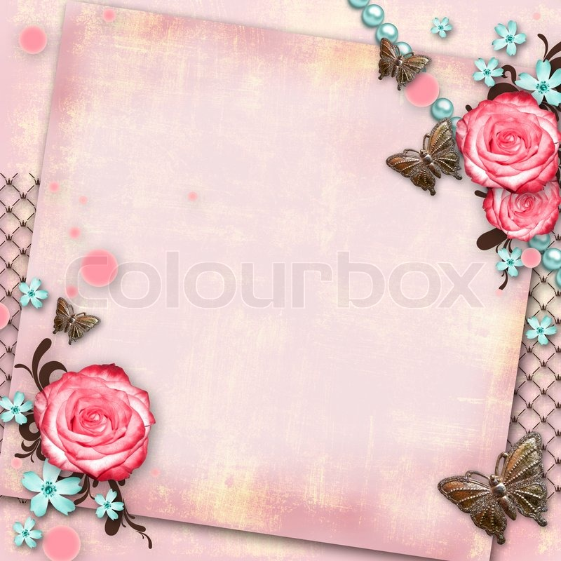 Pink vintage butterfly background - photo#19