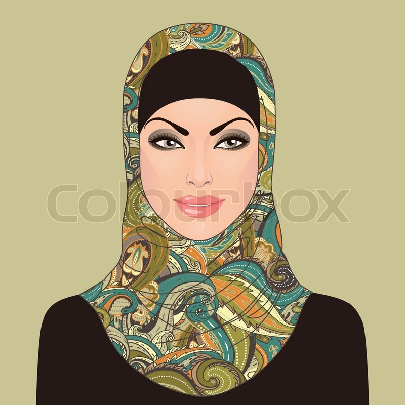 Portrait Of Muslim Beautiful Girl In Patterned Hijab  Stock Vector  Colourbox-4131