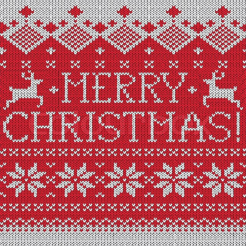 Merry Christmas Scandinavian style seamless knitted pattern with ...