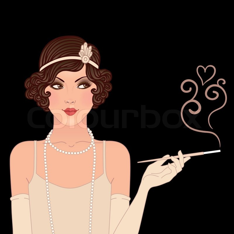 Flapper Girls Set Young Beautiful Woman Of 1920s Vintage