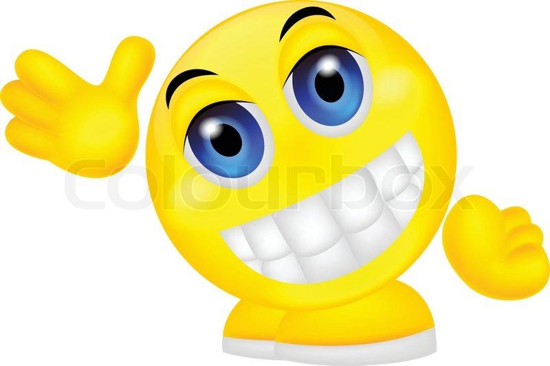 Vector illustration of Smiley emoticon waving hand | Stock ...