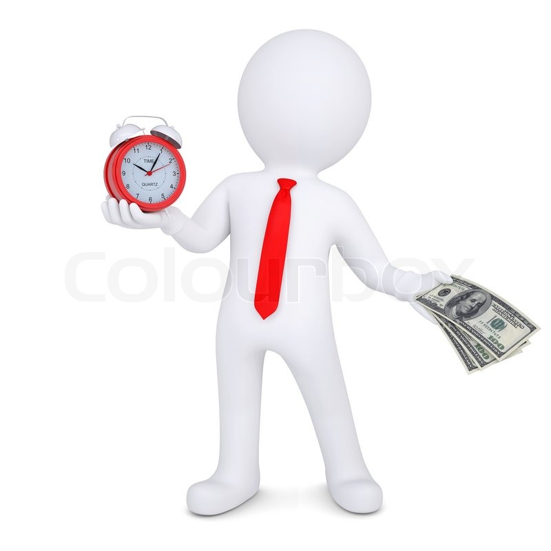 3d Man Changes The Time On Money Stock Photo Colourbox