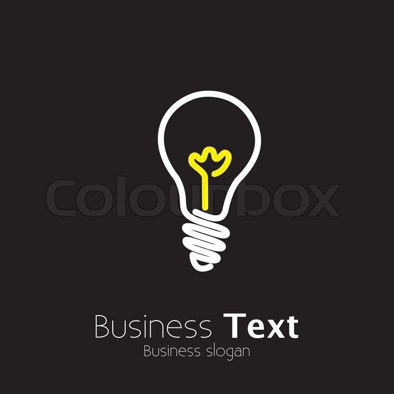 Helle Glühbirne Symbol Symbol auf schwarzem Hintergrund- Grafik ...