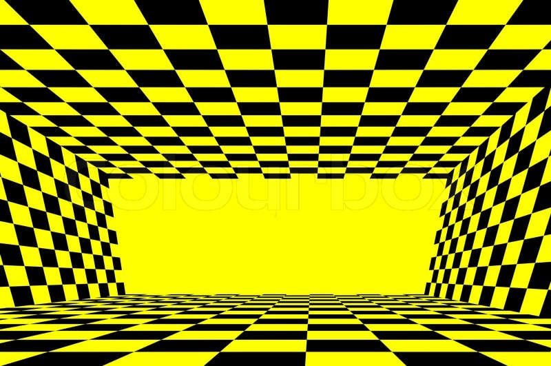 Yellow And Black Checkered Background In Circle Stock
