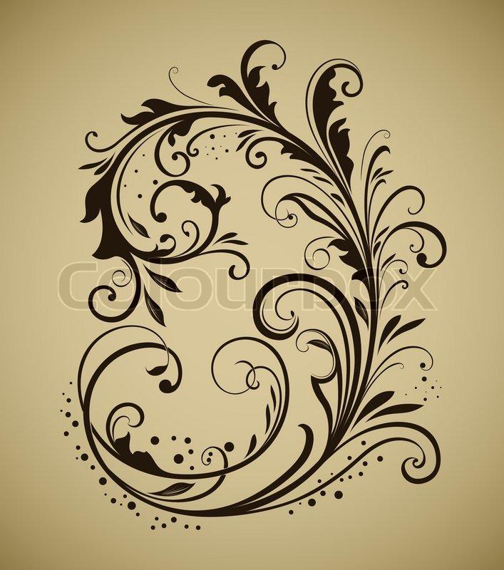 stock vector of vintage floral design element isolated on beige background - Schone Muster Zum Zeichnen