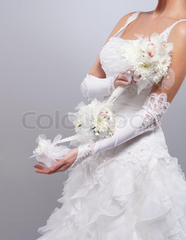 Schone Hochzeitsstrauss In Handen Der Stockfoto Colourbox
