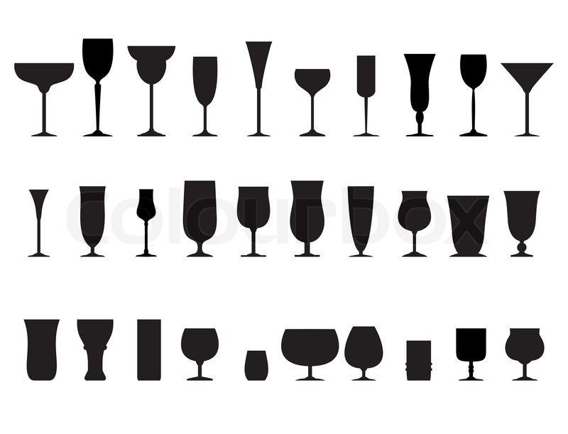 Glass Collection Vector Silhouette Isolated On White