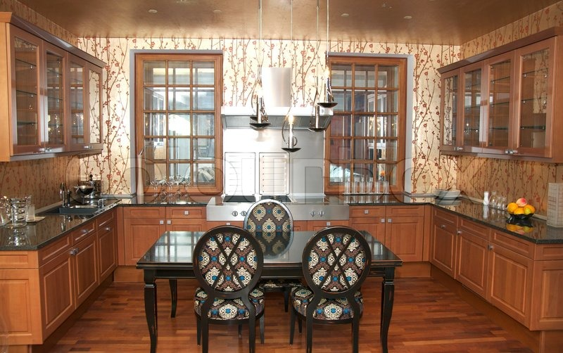 Nice interior with furniture and kitchen appliances, stock photo