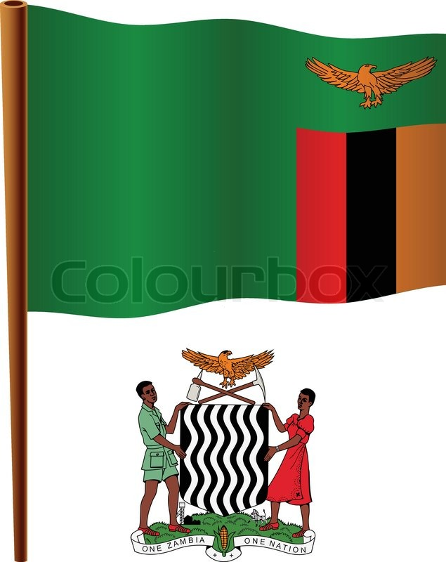 zambia flag coloring page - zambia wavy flag stock vector colourbox