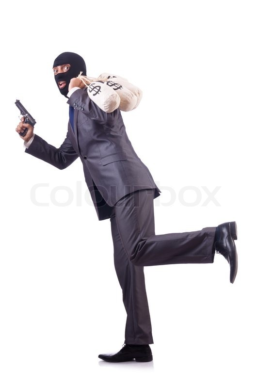 Gangster With Bags Of Money On White Stock Photo