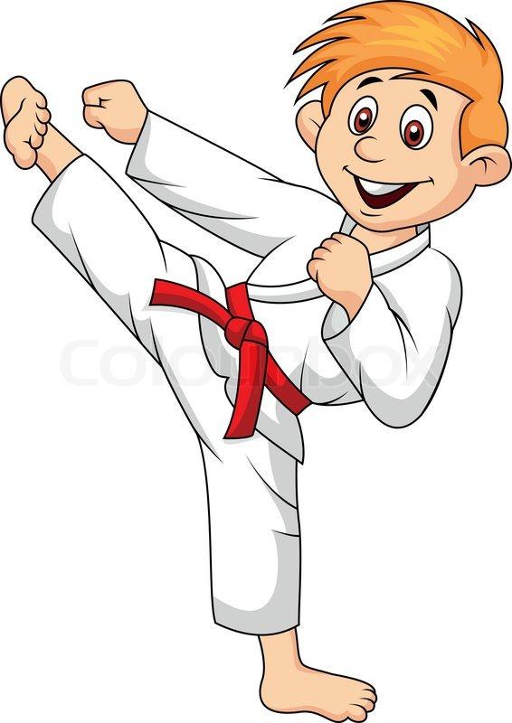 Vector illustration of boy cartoon doing martial art