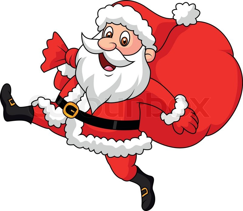 Santa Claus Cartoon Running With The Bag Of The Presents