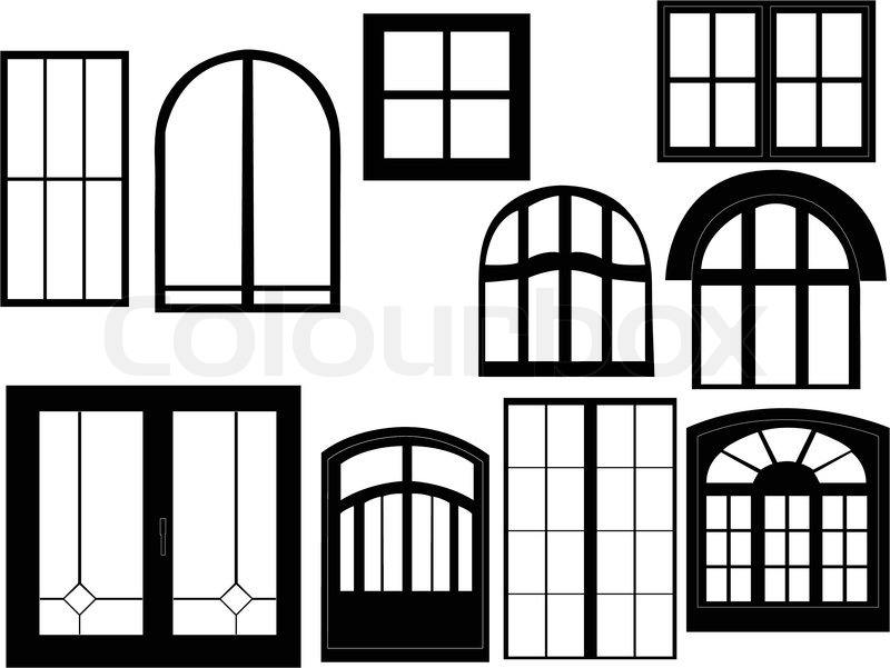Window collection silhouette - vector | Stock Vector | Colourbox