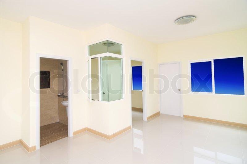 wohnzimmer schlafzimmer und wc im neubau haus mit fenstern stockfoto colourbox. Black Bedroom Furniture Sets. Home Design Ideas