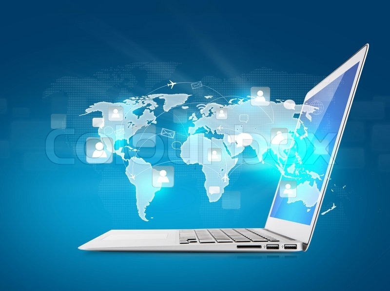 Social networking concept laptop with social network on world map social networking concept laptop with social network on world map stock photo colourbox gumiabroncs Images