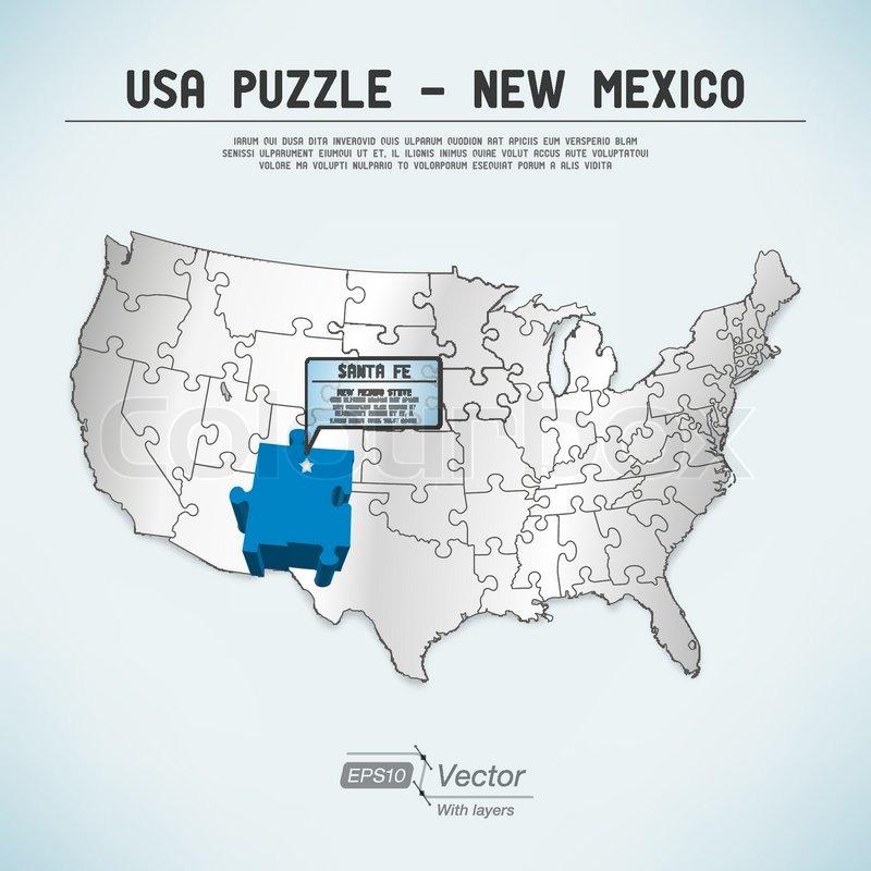 Usa Kort Puzzle New Mexico Stock Vektor Colourbox