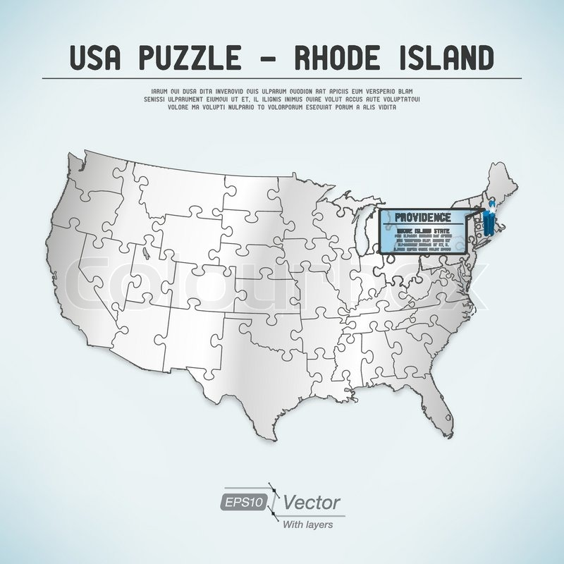 USA map puzzle - One state-one puzzle piece | Stock Vector | Colourbox
