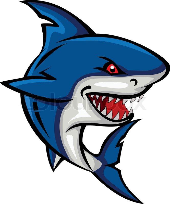 Vector illustration of angry shark cartoon stock