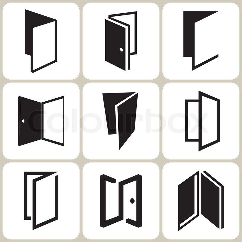 vector door icons set stock vector colourbox