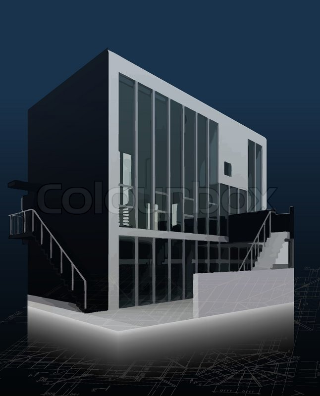 Arkitektur model hus med blueprints Vector  stock vektor  Colourbox