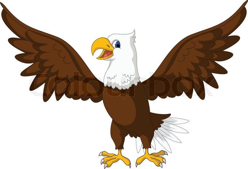 Vector Illustration Of Cute Eagle Cartoon Posing