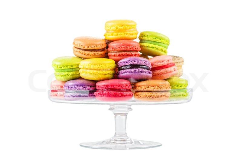 franz sisch bunten macarons in einem glas etagere stockfoto colourbox. Black Bedroom Furniture Sets. Home Design Ideas