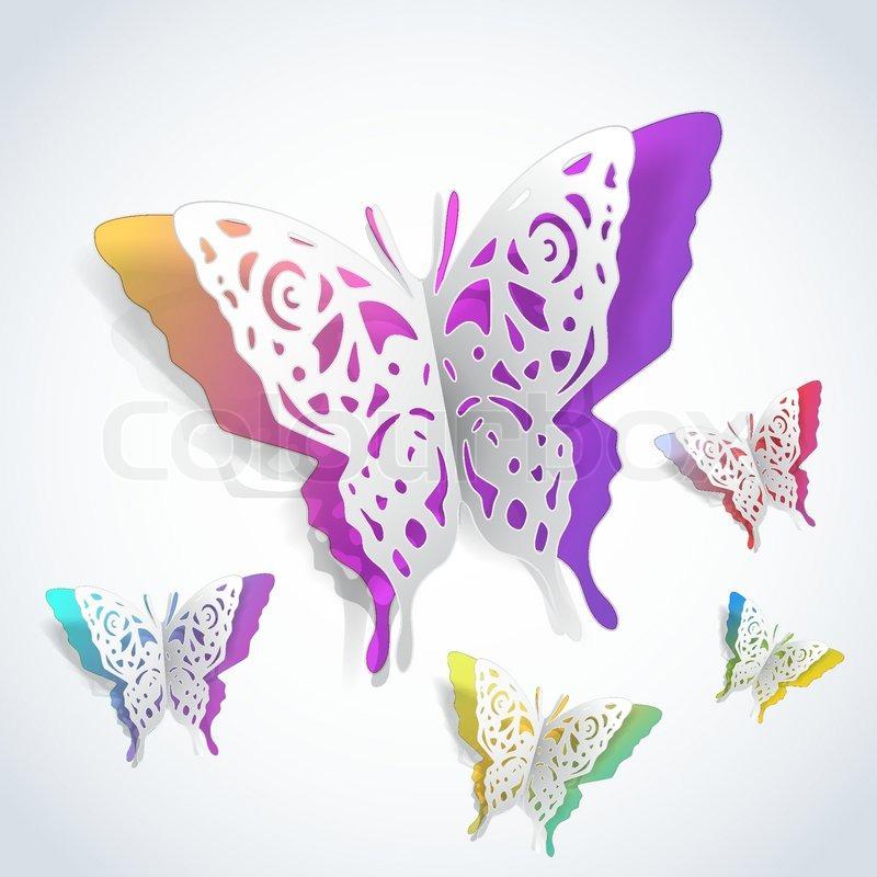 Butterflies cutout of white paper stock vector colourbox for White paper butterflies