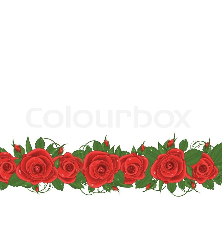 Illustration horizontal border with red roses - vector ...