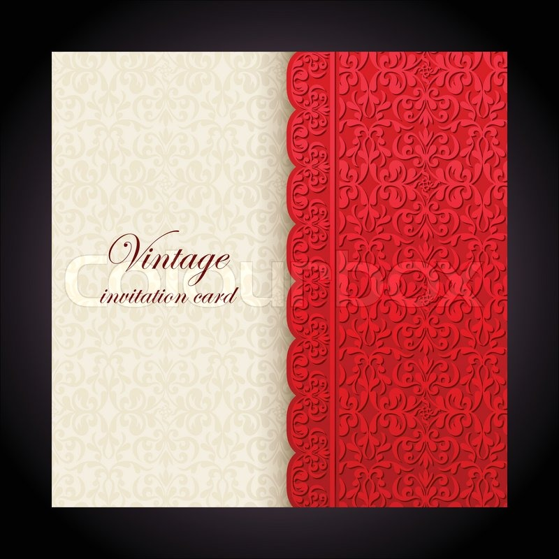 Vintage background antique red greeting card invitation with lace stock vector of vintage background antique red greeting card invitation with lace and stopboris Images