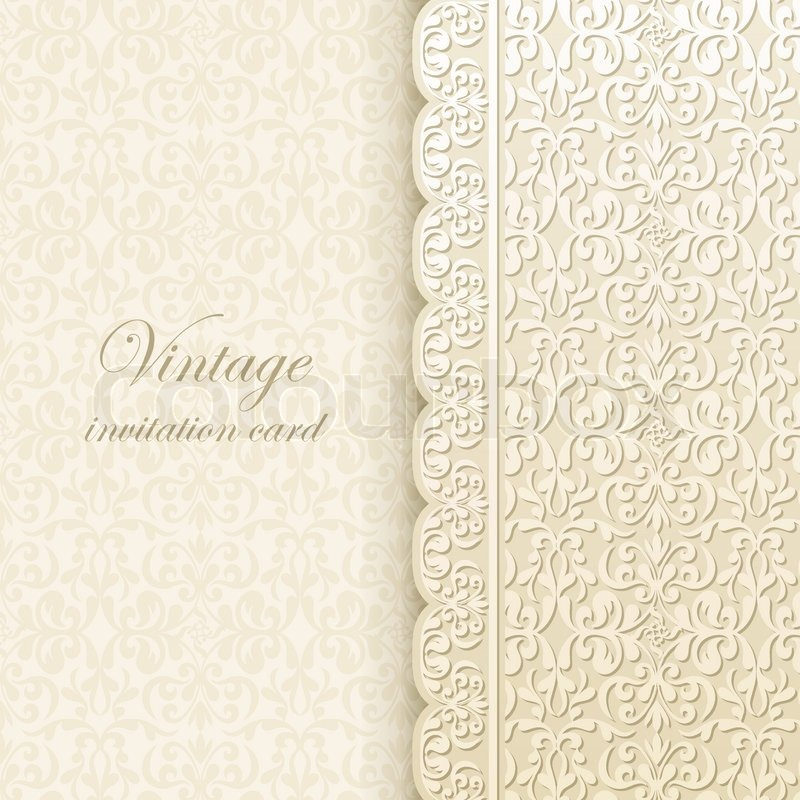 Vintage background antique greeting card invitation with lace – Invitation Card Paper