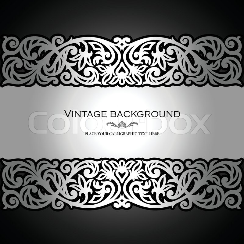 stock vector of vintage black background antique victorian silver ornament baroque frame