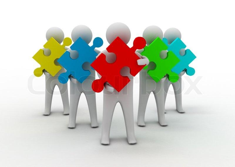 teamarbeit puzzle konzept stockfoto colourbox