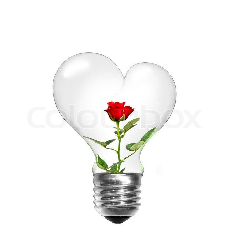 Natural Energy Concept Light Bulb In Shape Of Heart With